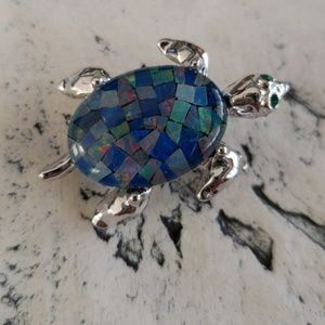Vintage Blue Glass Jelly Belly Turtle Brooch